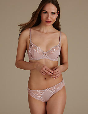 Floral Embroidered Set with Non Padded Full Cup