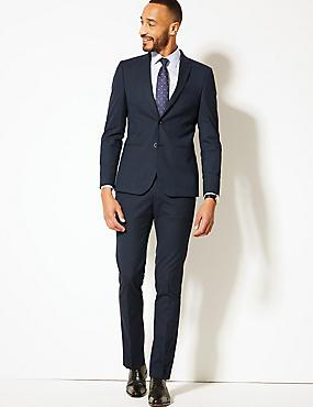 Blue Textured Modern Slim Fit Suit, , catlanding