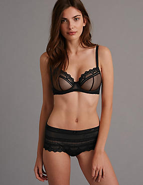 Victoriana Embroidered Set with Non-Padded Underwired Balcony A-DD