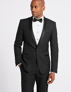 Black Slim Fit Tuxedo Suit, , catlanding