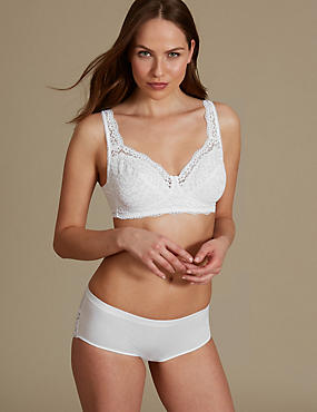Cotton Rich Lace Set with Non Padded Full Cup AA-DD