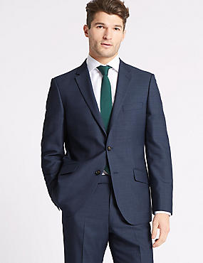 Blue Textured Tailored Fit Suit, , catlanding