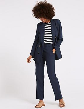 Linen Blend Blazer & Trousers Suit Set , , catlanding