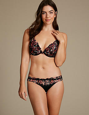Printed Lace Set with Padded Plunge A-E