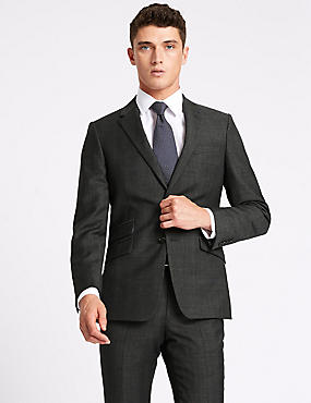 Grey Checked Slim Fit Wool Suit