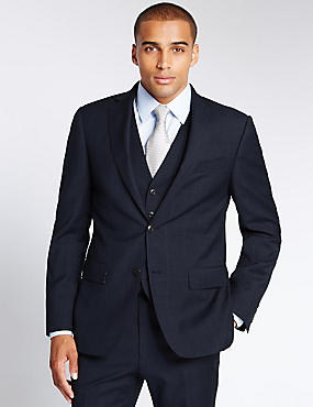 Navy Checked Tailored Fit Wool 3 Piece Suit, , catlanding