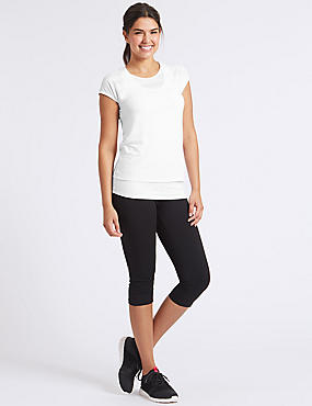 Double Layer Top & Cropped Leggings Outfit, , catlanding