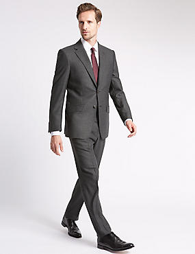 Charcoal Striped Regular Fit Wool Suit
