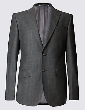 Big & Tall Charcoal Striped Regular Fit Suit