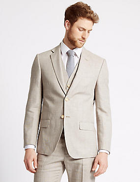 Beige Textured Regular Fit 3 Piece Suit