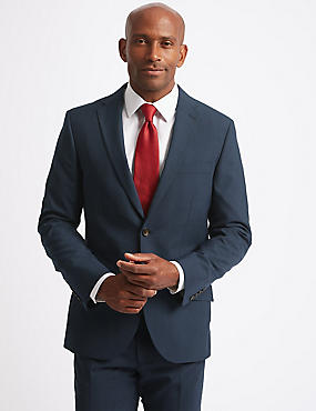 Indigo Checked Tailored Fit Suit, , catlanding