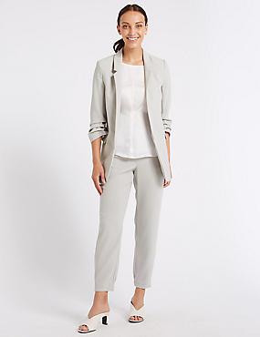 Crepe Blazer & Straight Leg Joggers Suit Set, , catlanding