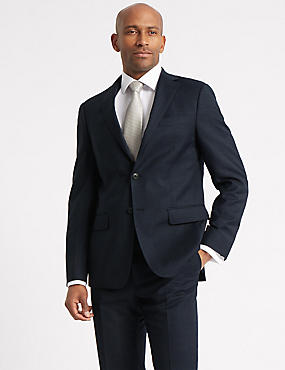 Navy Tailored Fit Prince of Wales Check Suit