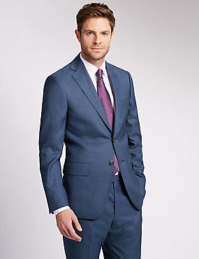 Blue Regular Fit Wool Suit
