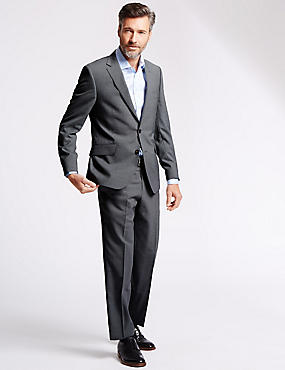 Grey Pinstriped Tailored Fit Suit