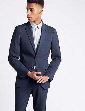 Indigo Checked Slim Fit Suit, , catlanding