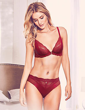 Silk & Lace Set with Padded Beau Plunge A-E