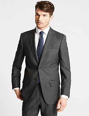 Charcoal Textured Regular Fit Wool Suit, , catlanding