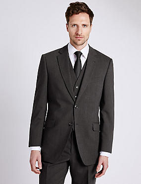 Big & Tall Charcoal Regular Fit Suit with Waistcoat