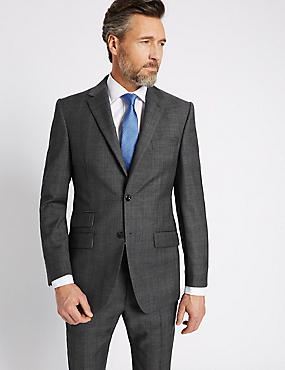 Grey Textured Regular Fit Wool Suit