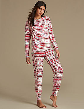Fairisle Print Long Sleeve Pyjama Set
