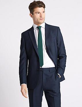 Blue Textured Regular Fit Suit, , catlanding