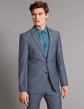 Blue Tailored Fit Wool Suit, , catlanding