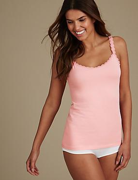 Lace Trim Vest & Shorts Set, , catlanding