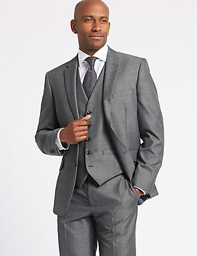 Grey Tailored Fit Suit with Waistcoat