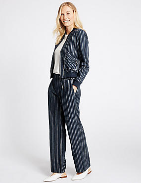 Linen Rich Striped Jacket & Trousers Set