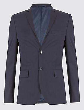 Navy Pinstriped Modern Slim Fit Suit