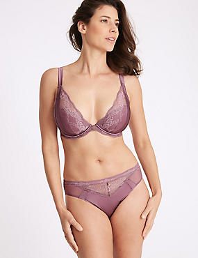Silk & Lace Set with Padded Plunge DD-G , , catlanding