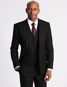 Black Slim Fit 3 Piece Suit, , catlanding
