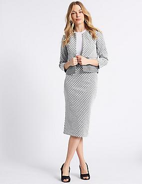 Checked Blazer & Skirt Suit Set , , catlanding