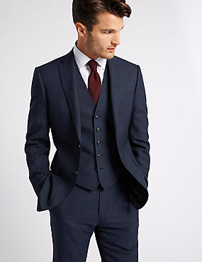 Indigo Checked Tailored Wool 3 Piece Suit, , catlanding