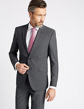 Grey Tailored Fit Wool Travel Suit