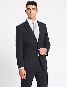 Navy Regular Fit Wool Travel Suit