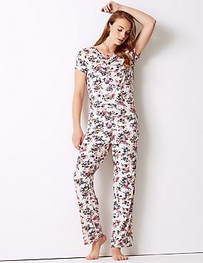 Floral Print Short Sleeve Pyjama Set, , catlanding