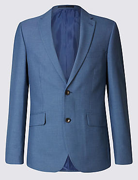 Blue Textured Tailored Fit 3 Piece Suit