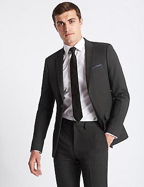 Grey Textured Slim Fit Suit, , catlanding