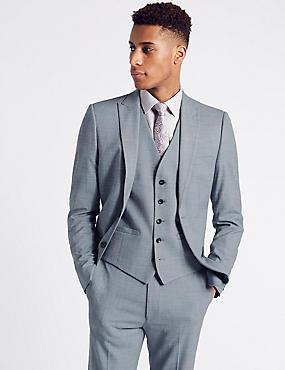 Blue Textured Modern Slim Fit 3 Piece Suit, , catlanding