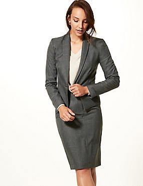 Checked Blazer & A-Line Mini Skirt Suit Set, , catlanding