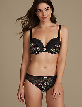 Floral Lace Set with Padded Balcony A-E