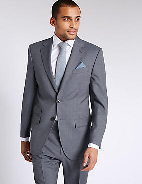 Blue Textured Regular Fit Wool Suit