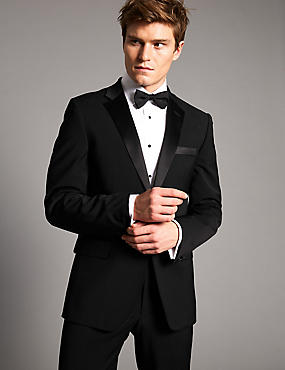 Black Tailored Fit Wool Rich with Lycra Tuxedo Suit, , catlanding