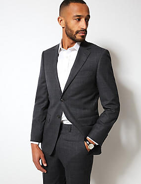 Charcoal Checked Regular Fit Wool Suit, , catlanding