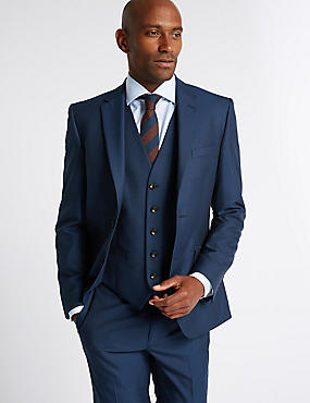 Indigo Tailored Fit 3 Piece Suit, , catlanding