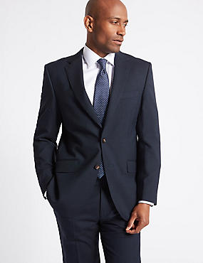 Navy Striped Regular Fit Suit, , catlanding