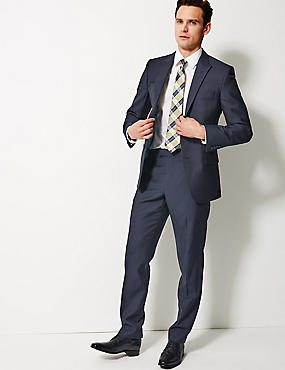 Navy Striped Tailored Fit Wool Suit, , catlanding