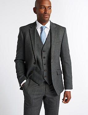Grey Textured Tailored Fit Suit Including Waistcoat